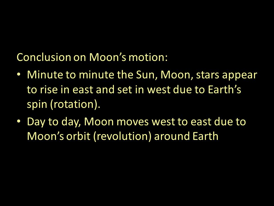 Conclusion on Moon's motion: