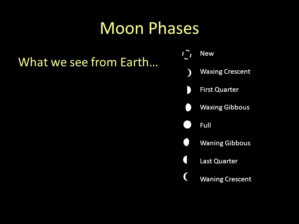 Moon Phases What we see from Earth… New Waxing Crescent First Quarter