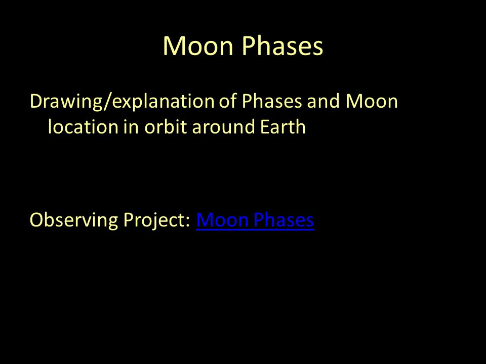 Moon Phases Drawing/explanation of Phases and Moon location in orbit around Earth Observing Project: Moon Phases