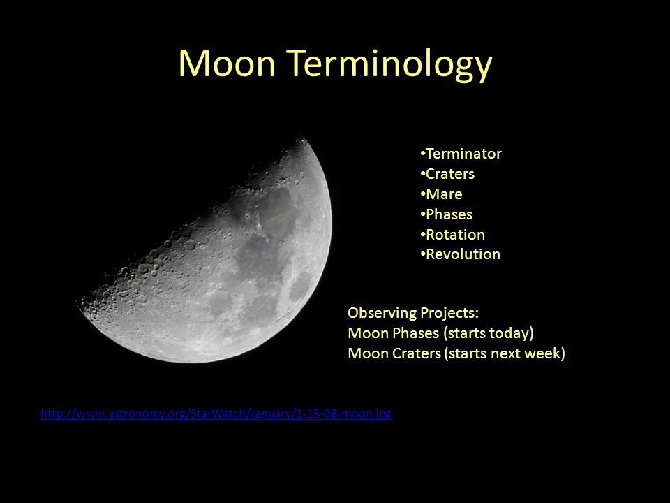 Moon Terminology Terminator Craters Mare Phases Rotation Revolution