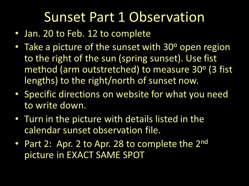 Sunset Part 1 Observation