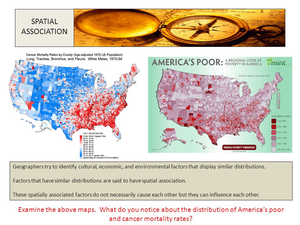 SPATIAL ASSOCIATION. Geographers try to identify cultural, economic, and environmental factors that display similar distributions.