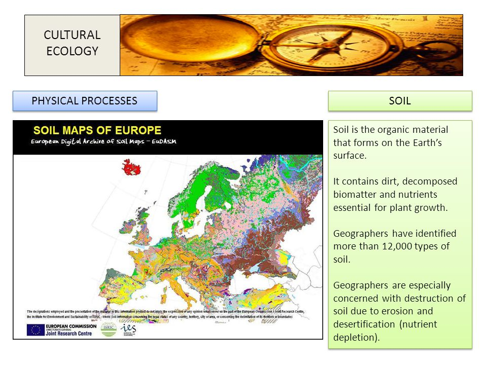 CULTURAL ECOLOGY PHYSICAL PROCESSES SOIL