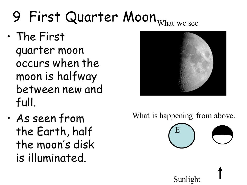 9 First Quarter Moon What we see. The First quarter moon occurs when the moon is halfway between new and full.