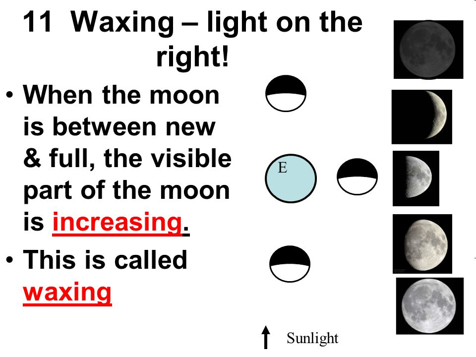 11 Waxing – light on the right!