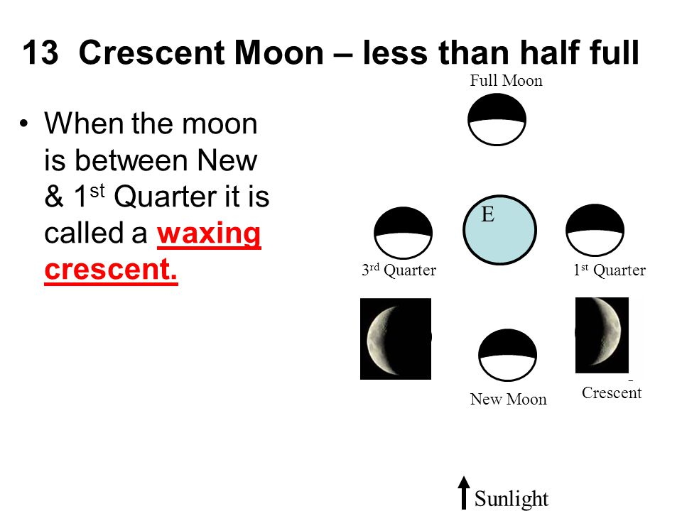 13 Crescent Moon – less than half full