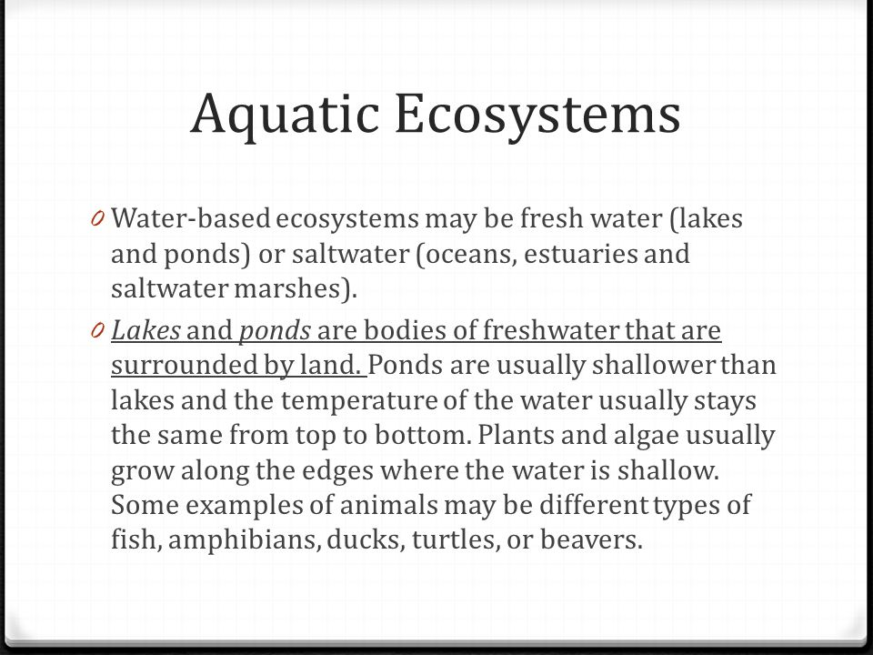 Aquatic Ecosystems Water-based ecosystems may be fresh water (lakes and ponds) or saltwater (oceans, estuaries and saltwater marshes).