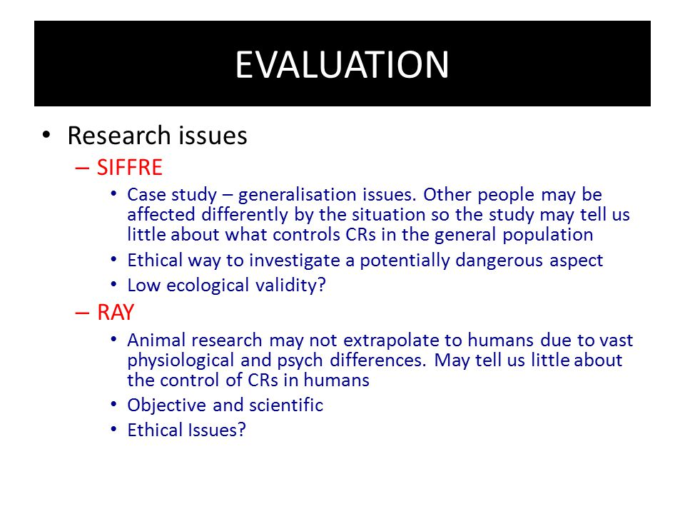 EVALUATION Research issues SIFFRE RAY