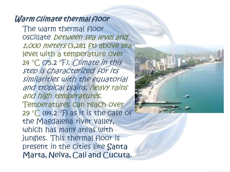 Warm climate thermal floor