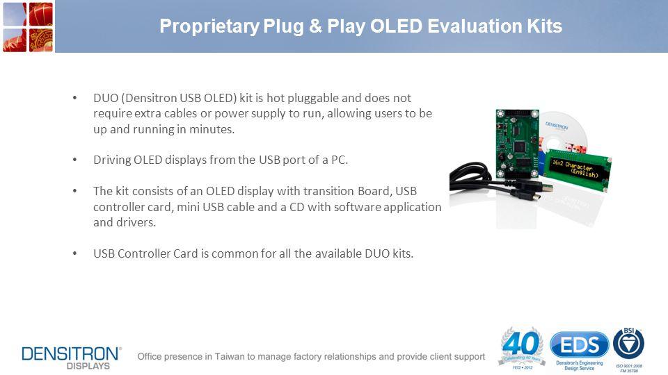 Proprietary Plug & Play OLED Evaluation Kits