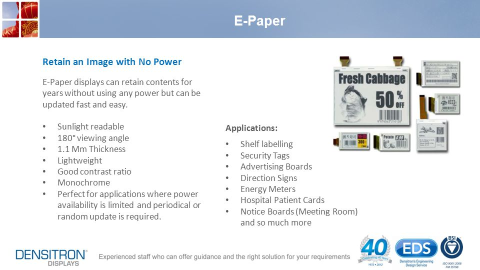 E-Paper Retain an Image with No Power