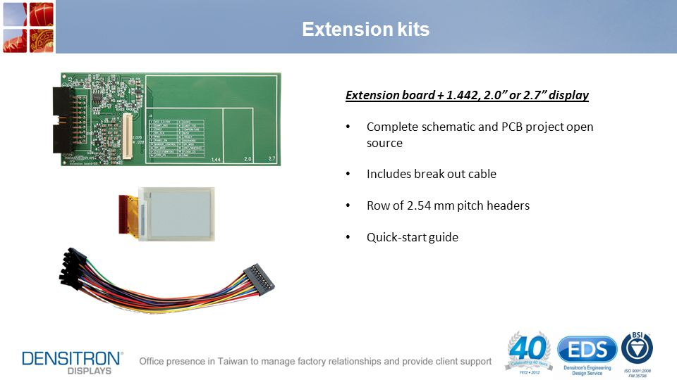 Extension kits Extension board + 1.442, 2.0 or 2.7 display