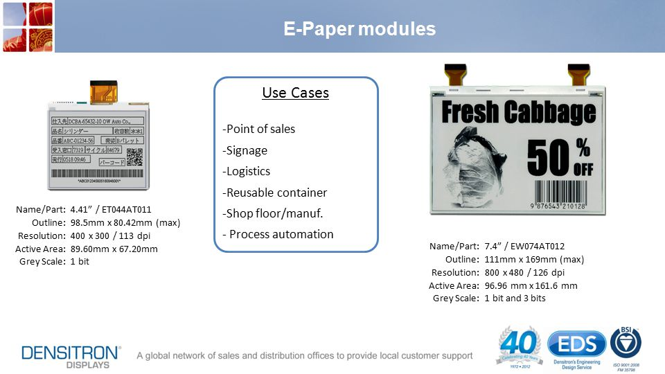 E-Paper modules Use Cases Point of sales Signage Logistics