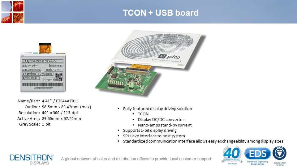 TCON + USB board Name/Part: Outline: Resolution: Active Area: