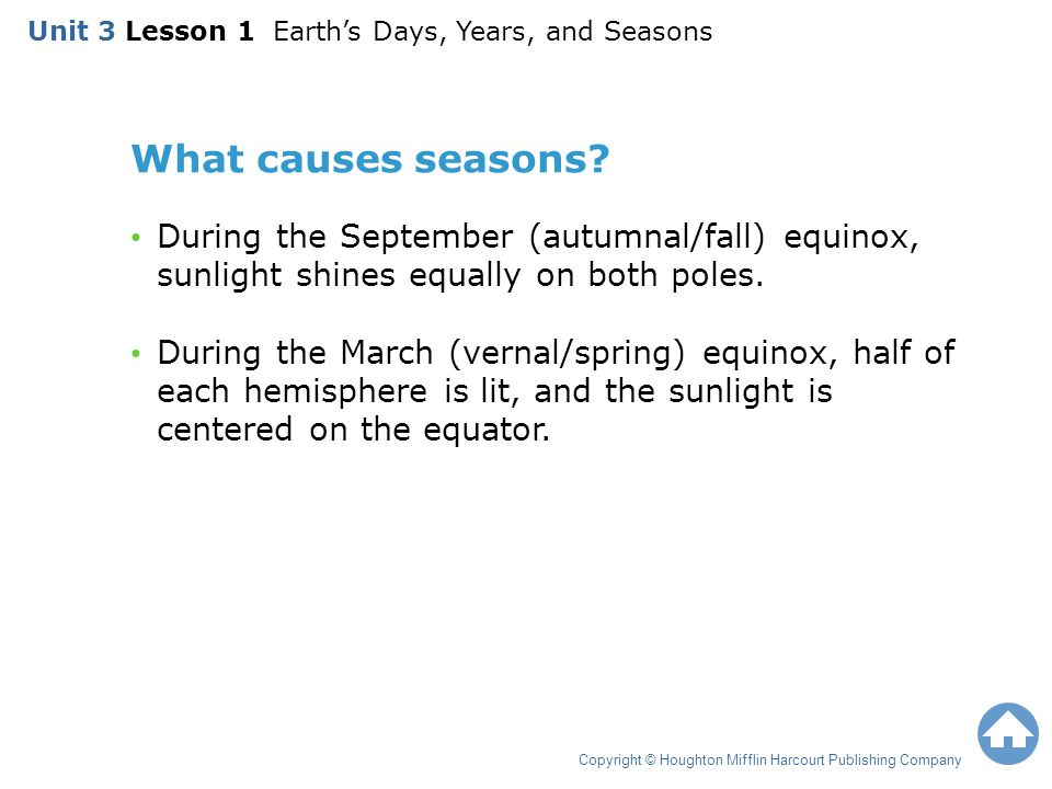 Unit 3 Lesson 1 Earth's Days, Years, and Seasons