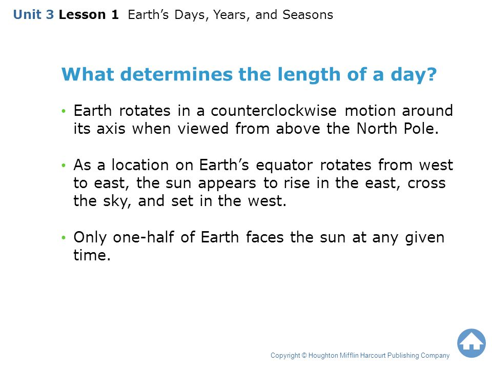 What determines the length of a day
