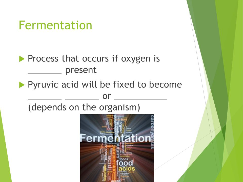 Fermentation Process that occurs if oxygen is _______ present