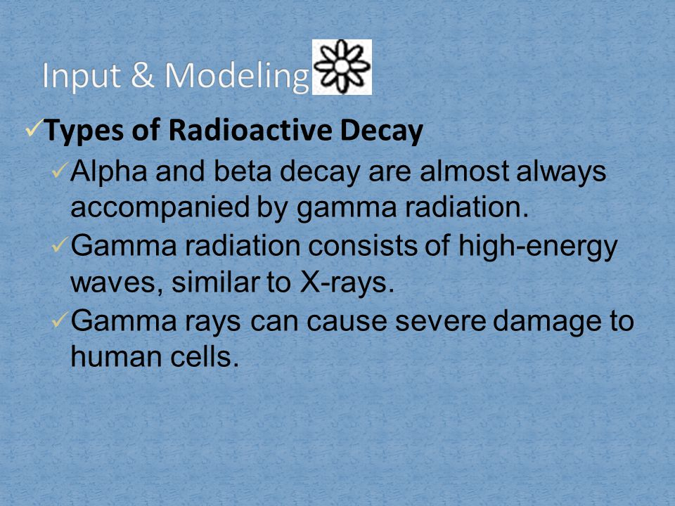 Input & Modeling Types of Radioactive Decay