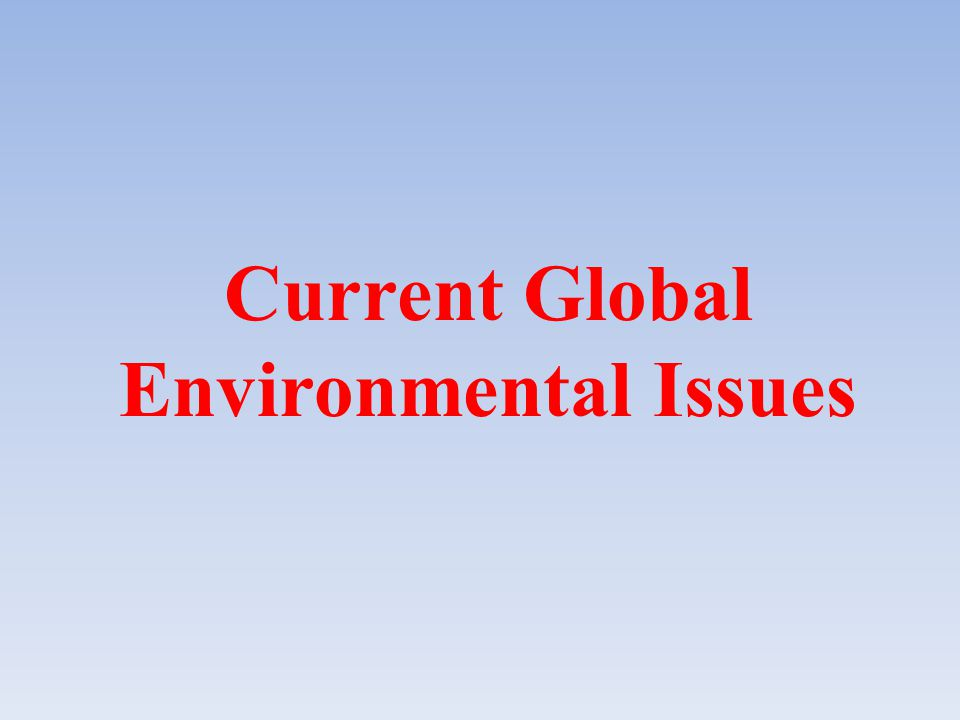 Current Global Environmental Issues