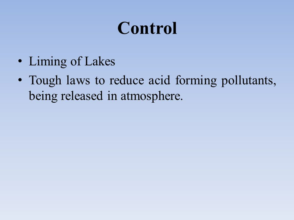 Control Liming of Lakes