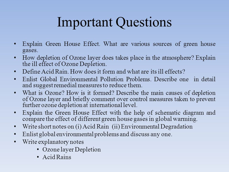 Important Questions Explain Green House Effect. What are various sources of green house gases.
