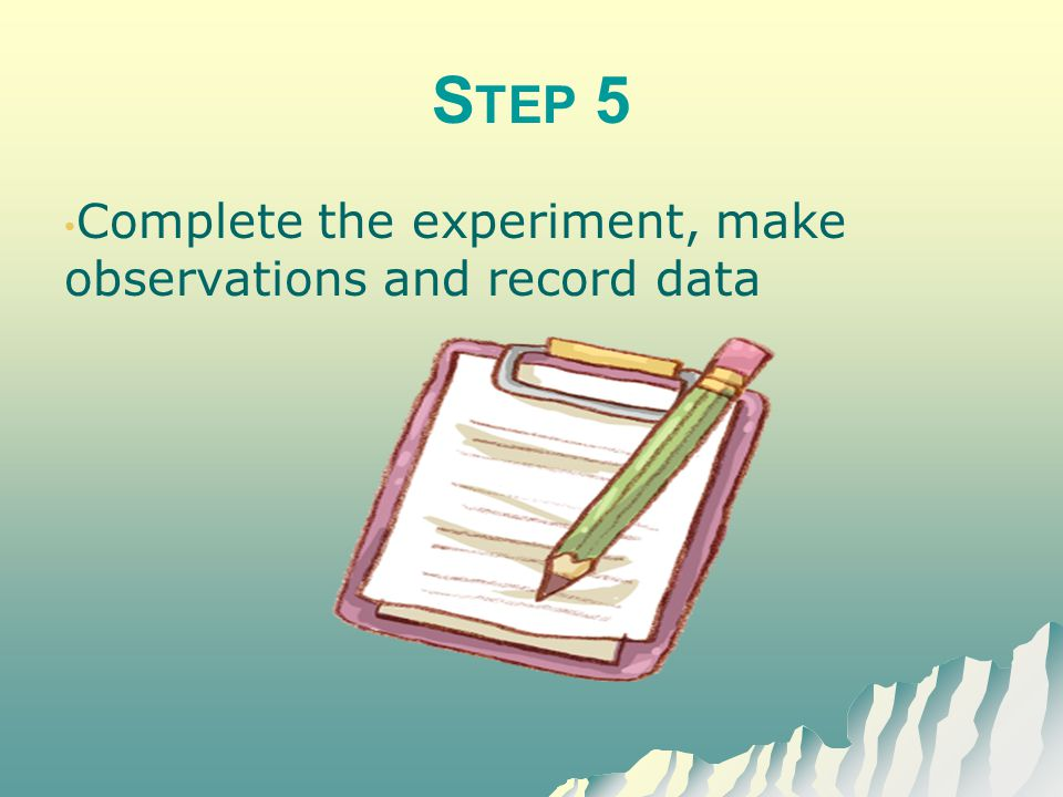 Step 5 Complete the experiment, make observations and record data