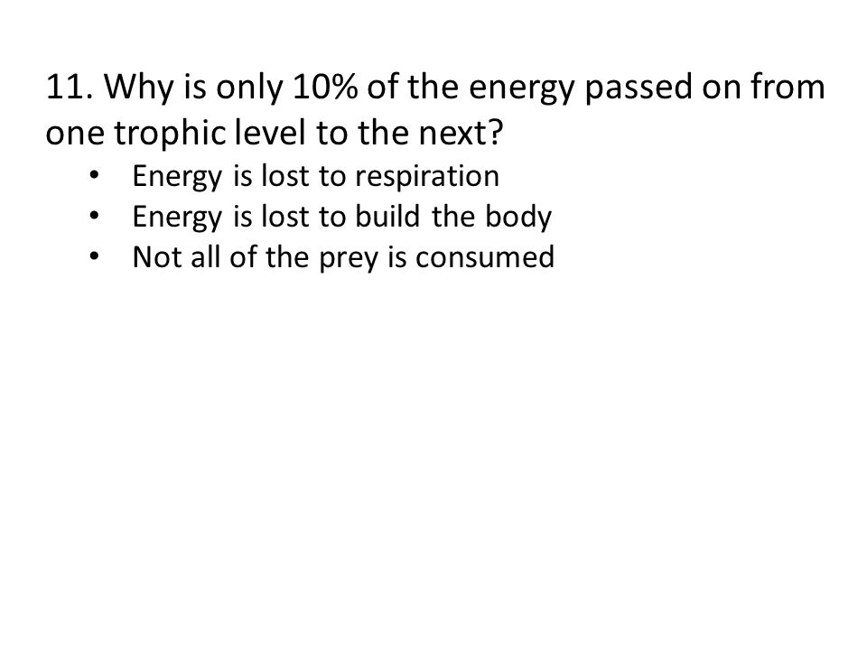 11. Why is only 10% of the energy passed on from one trophic level to the next