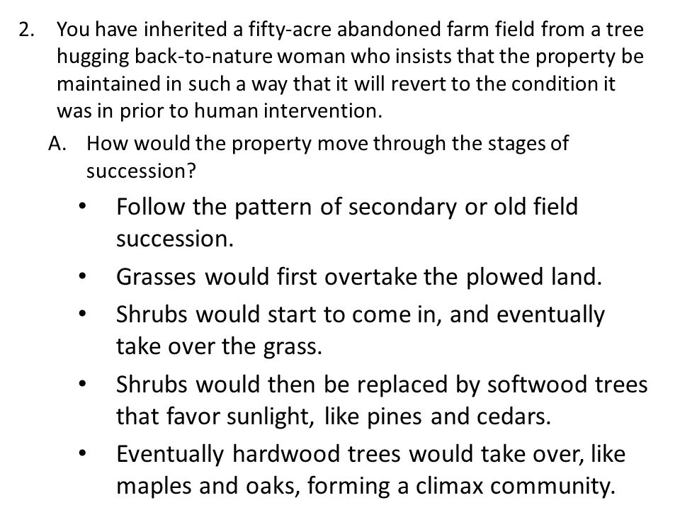 Follow the pattern of secondary or old field succession.
