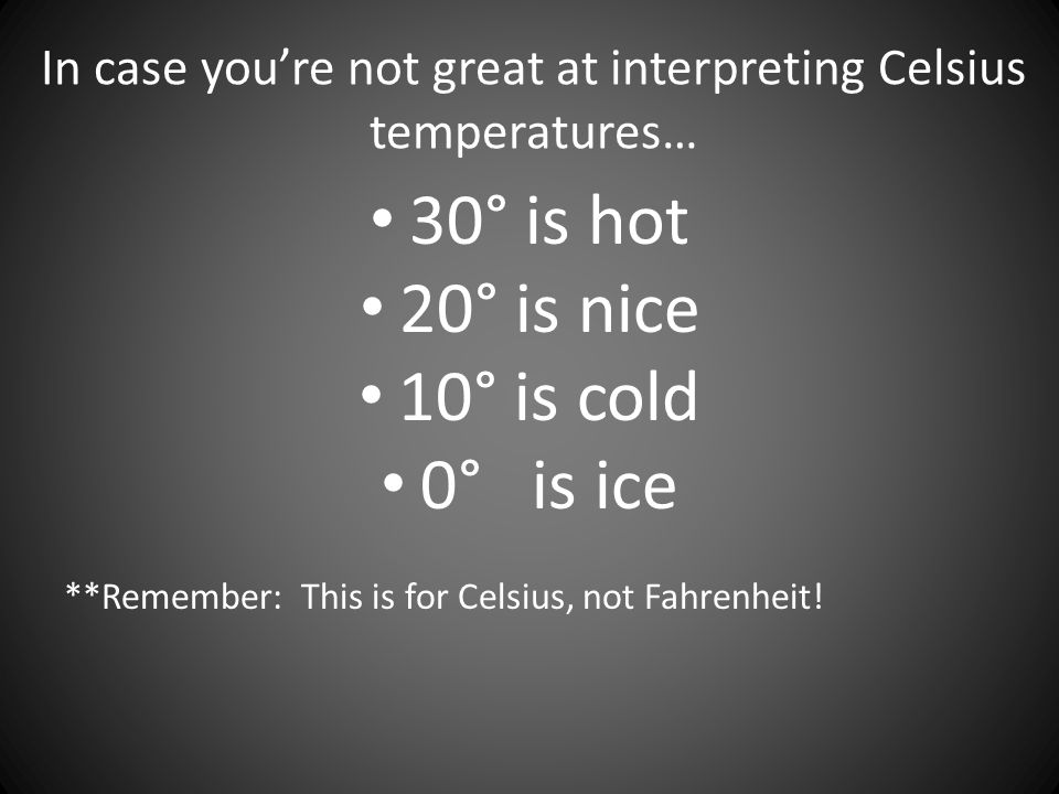 In case you're not great at interpreting Celsius temperatures…