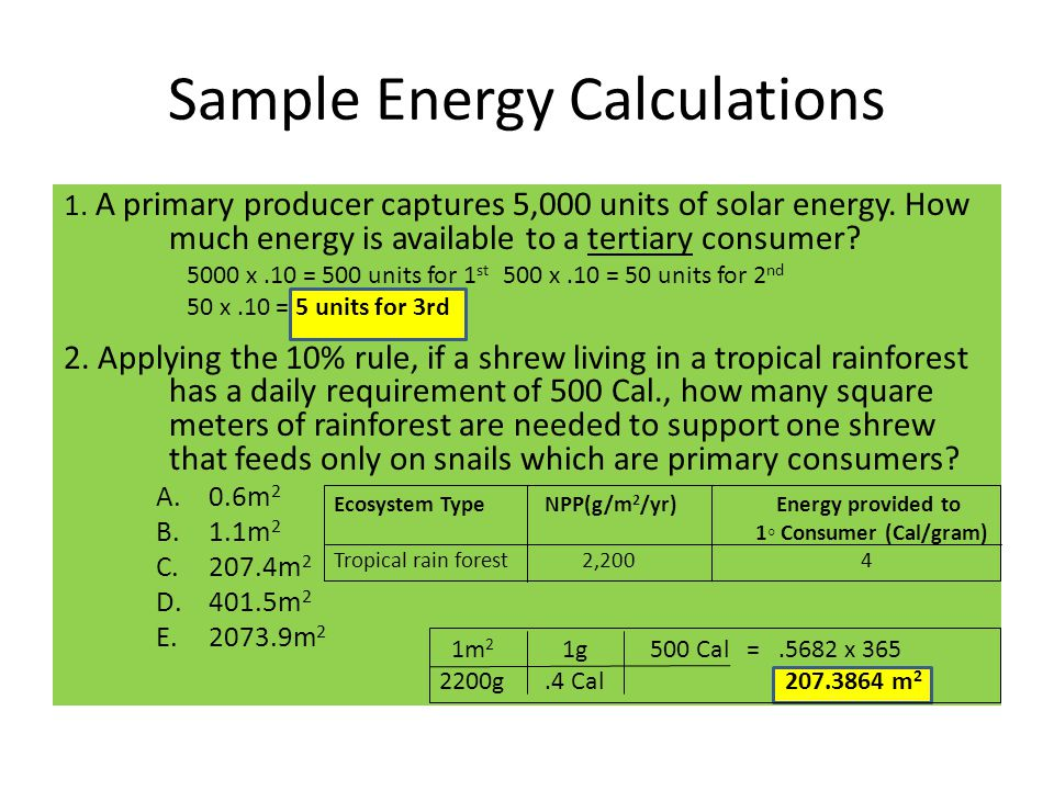 Sample Energy Calculations