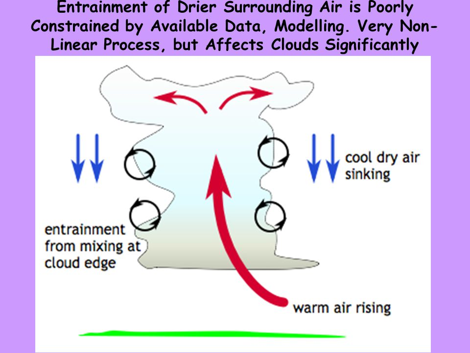 Entrainment of Drier Surrounding Air is Poorly Constrained by Available Data, Modelling.