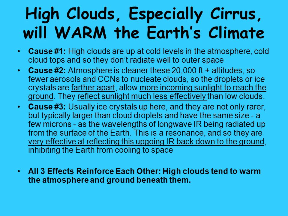 High Clouds, Especially Cirrus, will WARM the Earth's Climate
