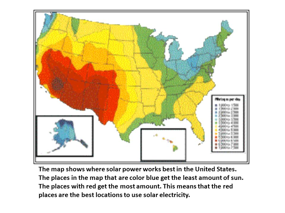 The map shows where solar power works best in the United States