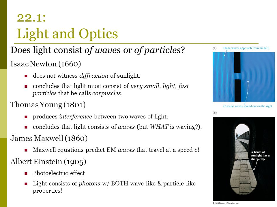 22.1: Light and Optics Does light consist of waves or of particles