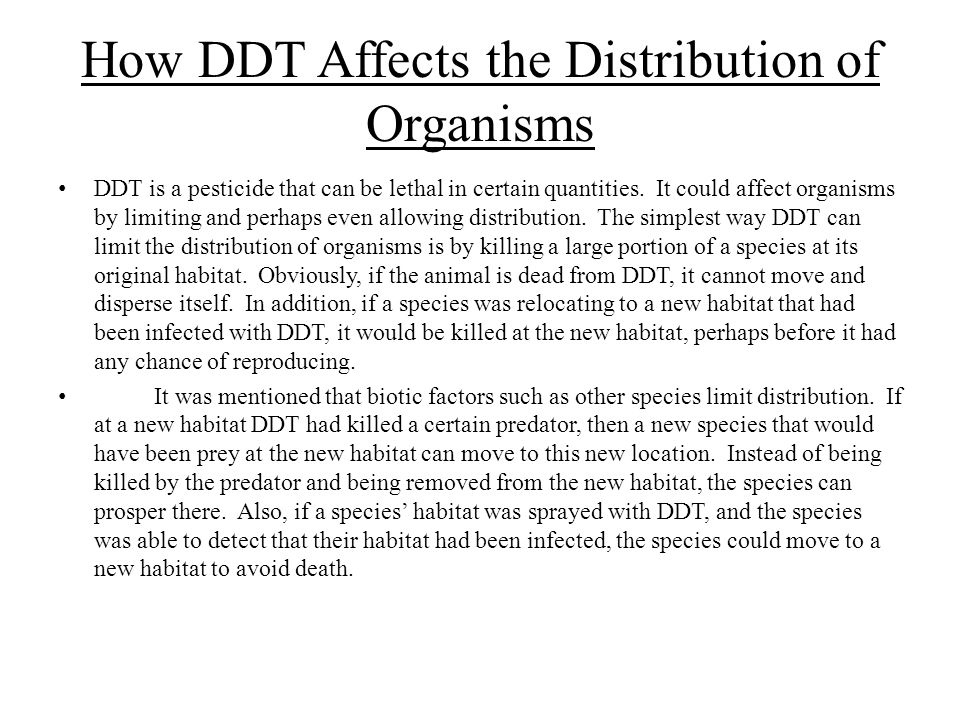 How DDT Affects the Distribution of Organisms