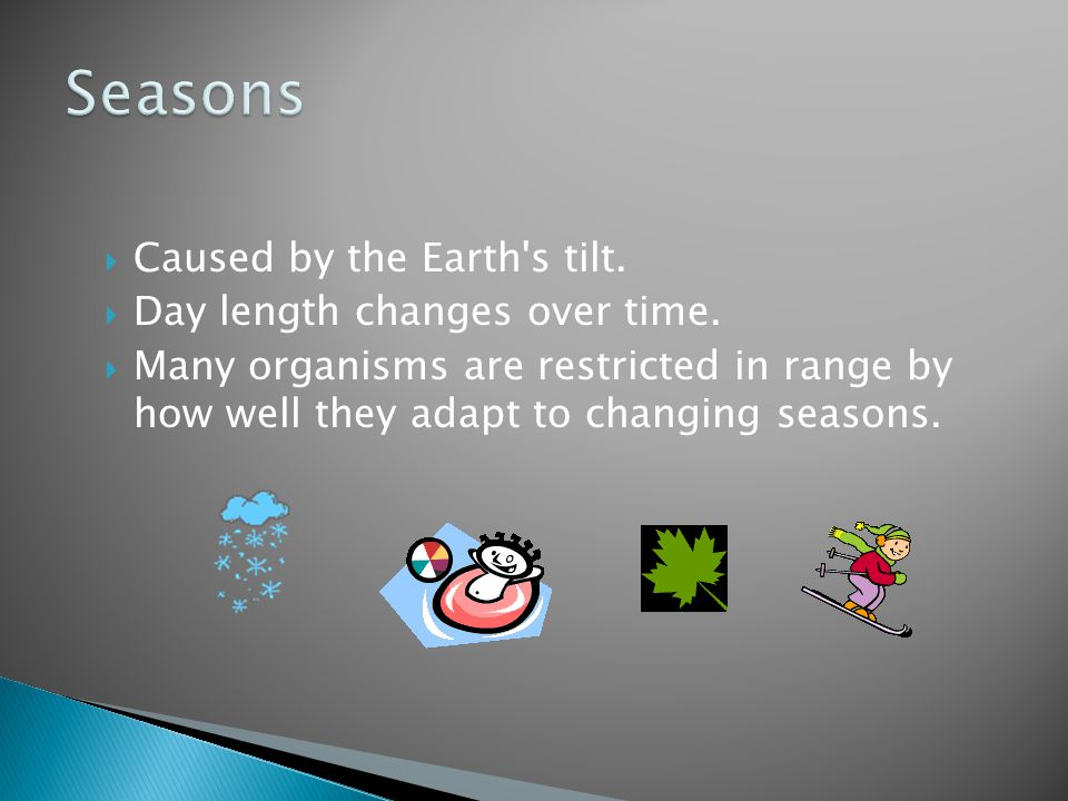 Seasons Caused by the Earth s tilt. Day length changes over time.