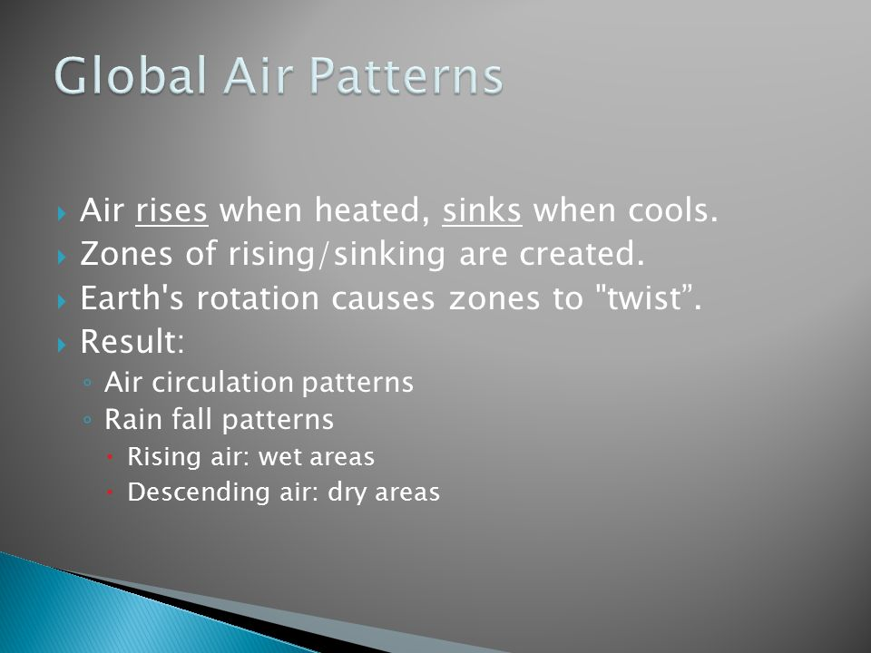 Global Air Patterns Air rises when heated, sinks when cools.