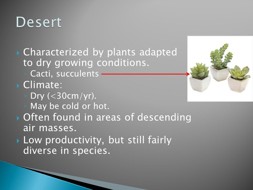 Desert Characterized by plants adapted to dry growing conditions.