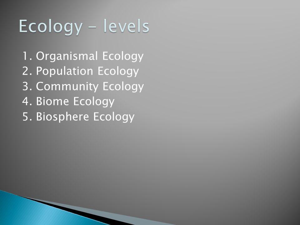Ecology - levels 1. Organismal Ecology 2. Population Ecology 3.