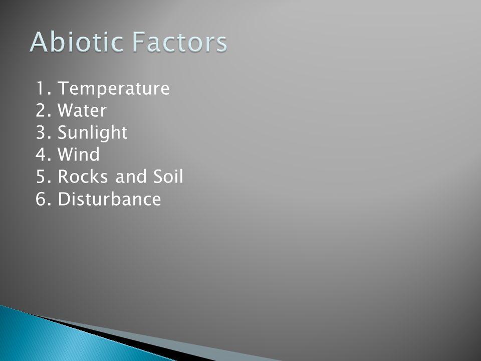 Abiotic Factors 1. Temperature 2. Water 3. Sunlight 4. Wind 5. Rocks and Soil 6. Disturbance