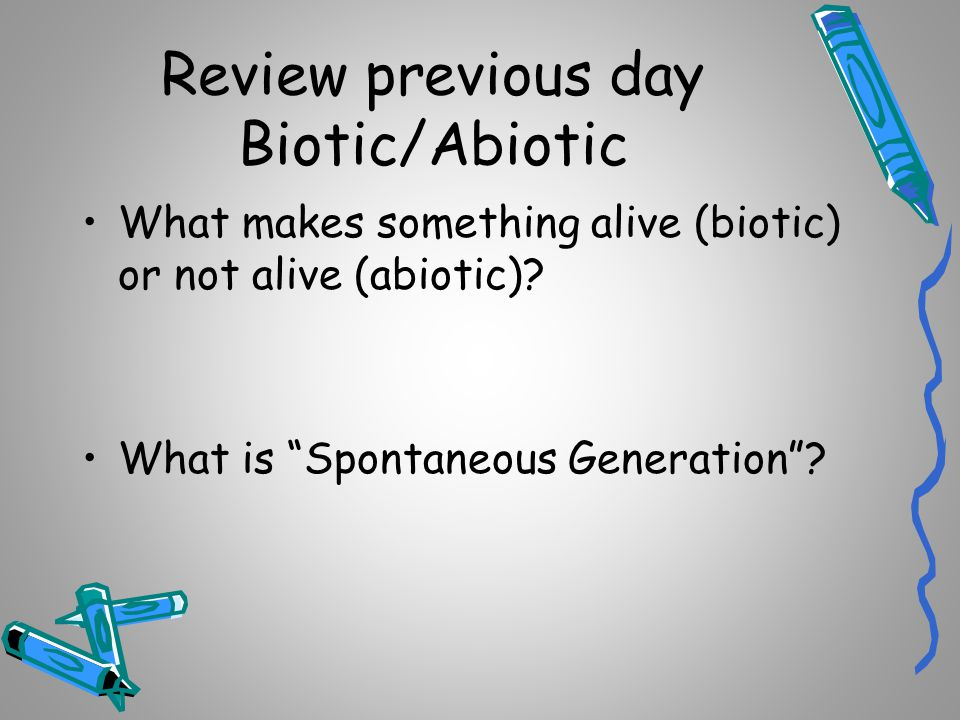 Review previous day Biotic/Abiotic