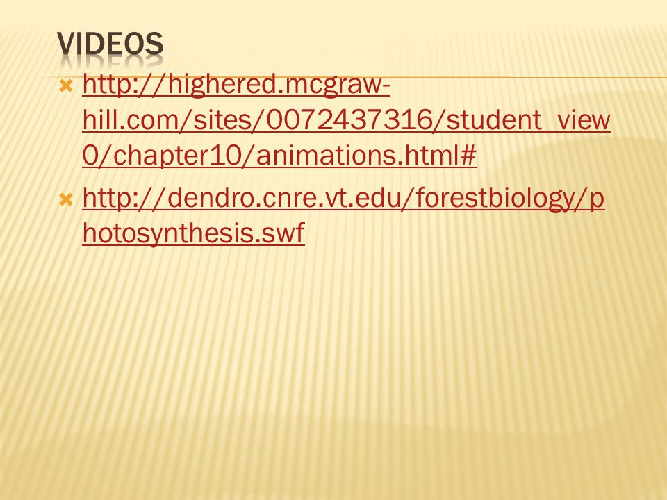 Videos http://highered.mcgraw-hill.com/sites/0072437316/student_view0/chapter10/animations.html#