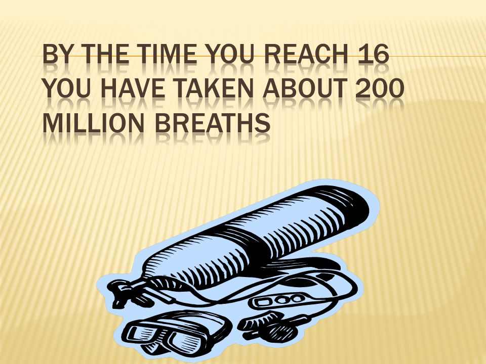 By the time you reach 16 you have taken about 200 million breaths