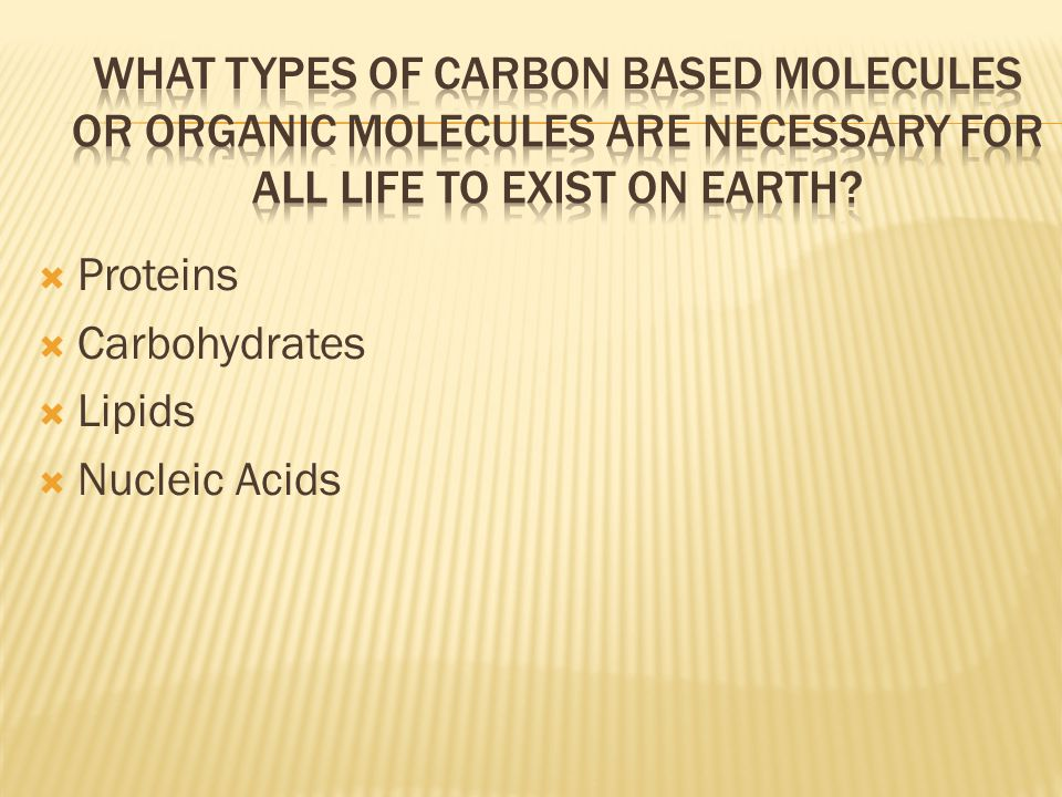 What types of carbon based molecules or organic molecules are necessary for all life to exist on Earth