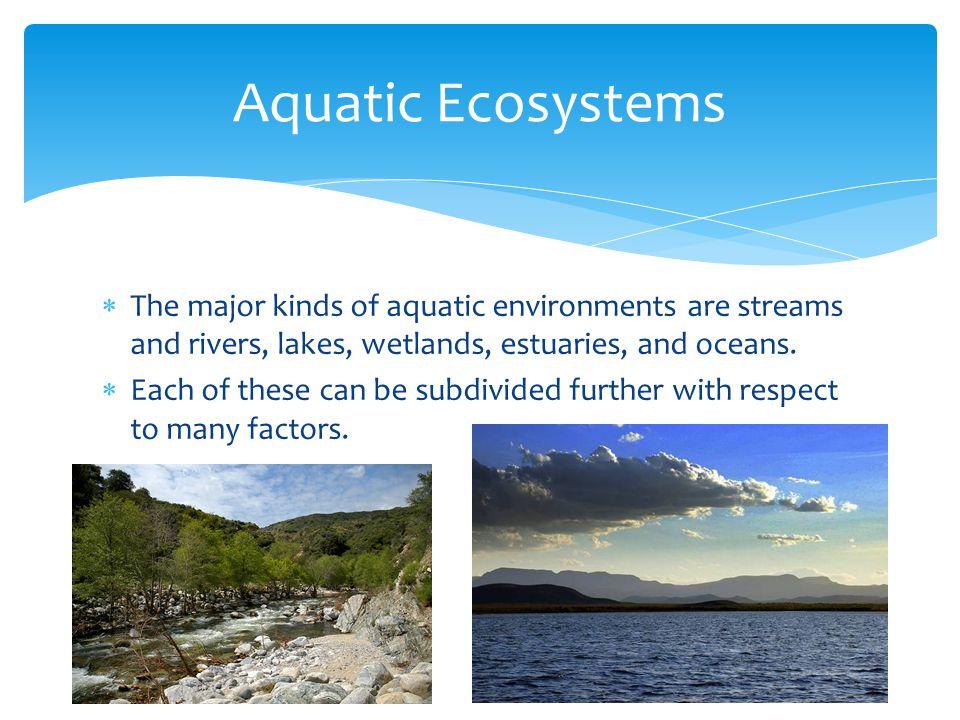 Aquatic Ecosystems The major kinds of aquatic environments are streams and rivers, lakes, wetlands, estuaries, and oceans.