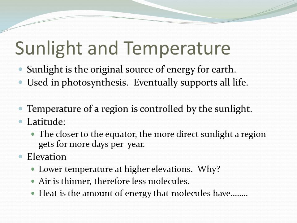 Sunlight and Temperature