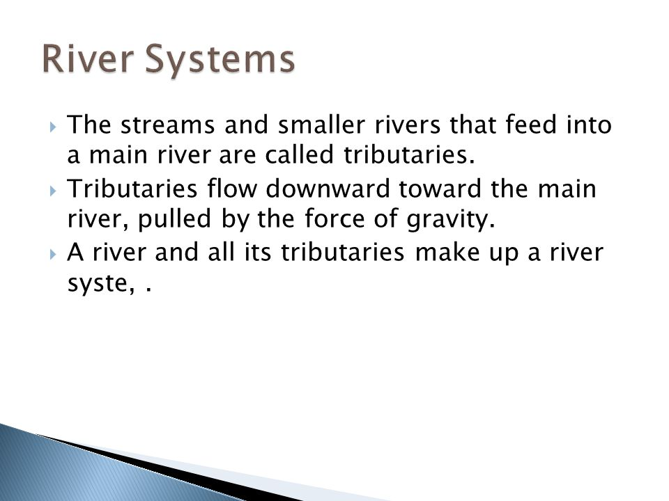 River Systems The streams and smaller rivers that feed into a main river are called tributaries.