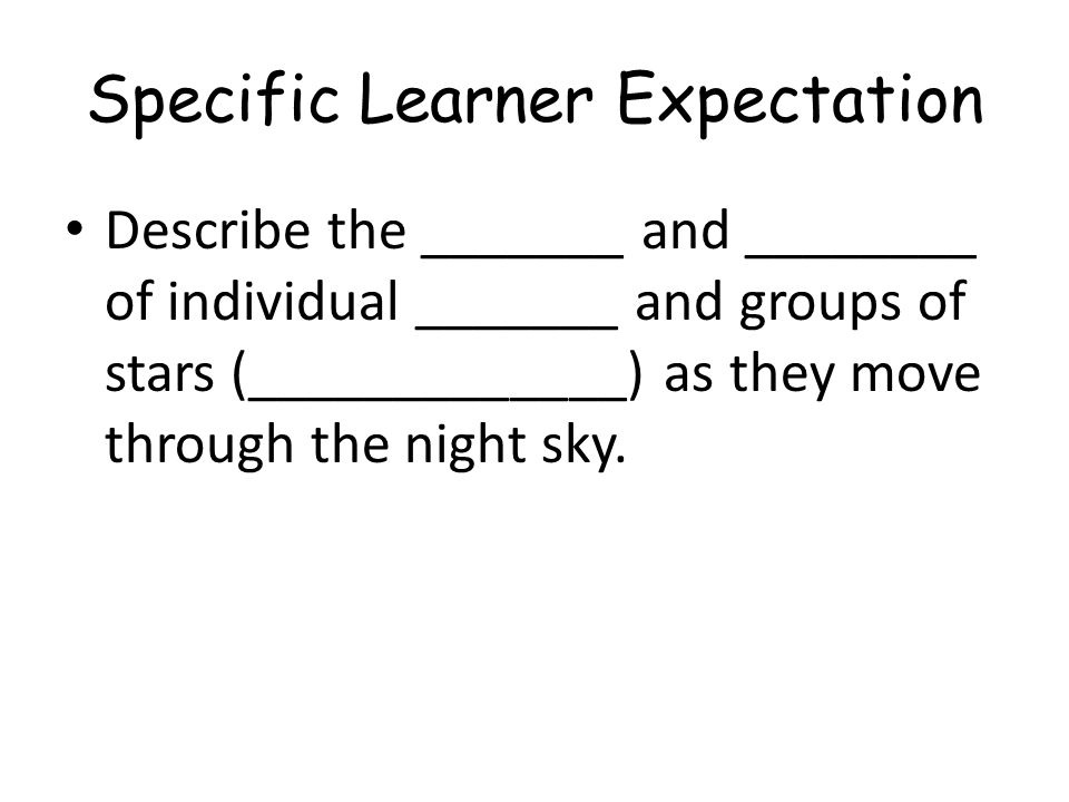 Specific Learner Expectation
