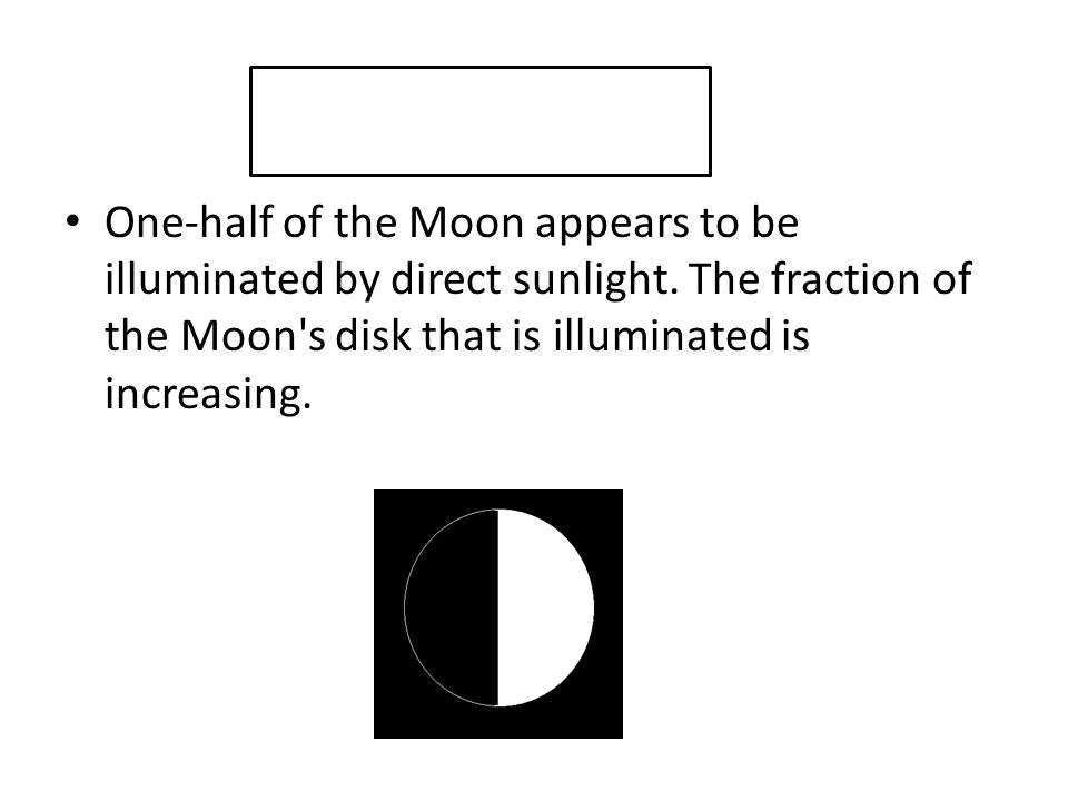 One-half of the Moon appears to be illuminated by direct sunlight
