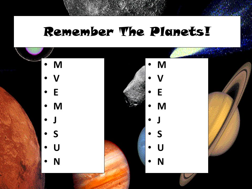 Remember The Planets! M V E J S U N M V E J S U N